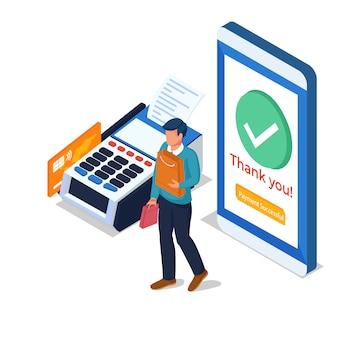 Het mannetje doet online betaling in de mobiele telefoon met creditcard.