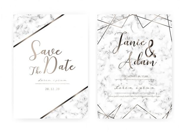 Het marmeren de kaartmalplaatje van de huwelijksuitnodiging, sparen de kaart van het datumhuwelijk, modern kaartontwerp met marmeren textuur