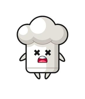 Het mascottekarakter van de dode chef-kokmuts, schattig stijlontwerp voor t-shirt, sticker, logo-element