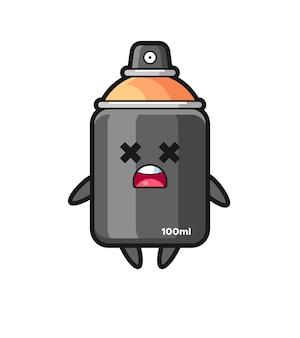 Het mascottekarakter van de dode spuitverf, schattig stijlontwerp voor t-shirt, sticker, logo-element