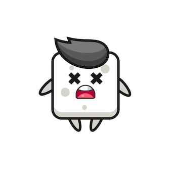 Het mascottekarakter van de dode suikerkubus, schattig stijlontwerp voor t-shirt, sticker, logo-element