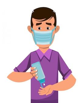 Het masker van de jongensslijtage en desinfecterende handen met desinfecterende gel