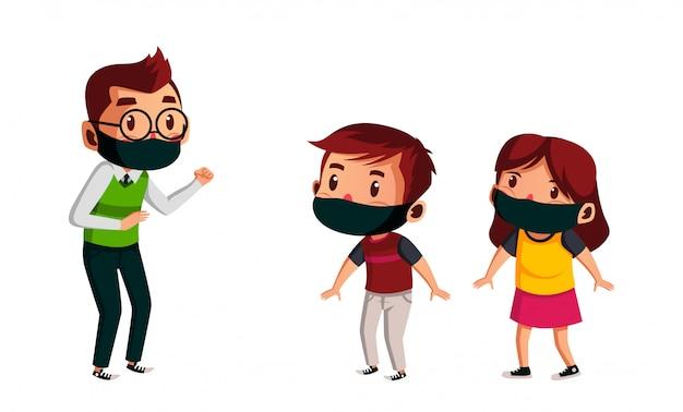 Het masker van de leraar draagt zijn leerling op om fysieke afstand te blijven nemen