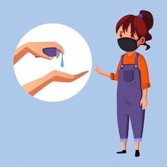 Het masker van de vrouwenslijtage geeft informatie over handdesinfecterend middel