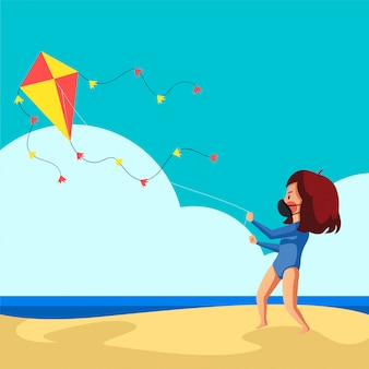 Het masker van de vrouwenslijtage heeft pret vliegend haar vlieger op het strand