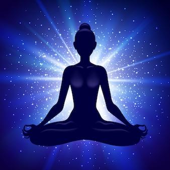 Het mediteren van vrouw in lotusbloem stelt. yoga illustratie.