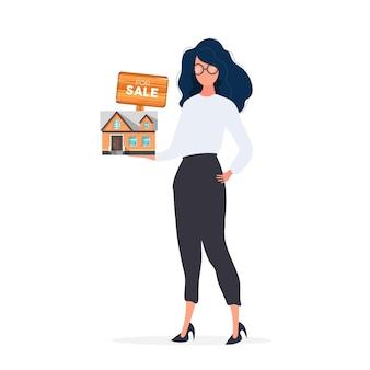 Het meisje biedt aan om een huis te kopen. een huis of onroerend goed verkopen. te koop teken. vector