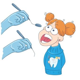 Het meisje bij de receptie bij de tandarts.