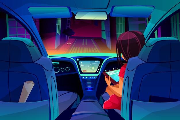 Het meisje controleert of beheert slimme autonome autoillustratie. vrouw op passagiersstoel