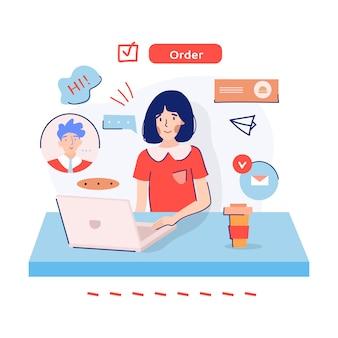 Het meisje dat van de voedsellevering een orde over internet neemt tijdens quarantaine. bestel proces concept. ondersteuningsthema. cartoon gekleurde vlakke afbeelding.