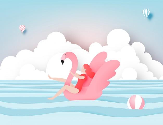 Het meisje die op het strand met flamingo met mooi overzees achtergronddocument drijven sneed stijl vectorillustratie