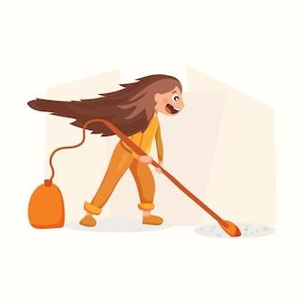 Het meisje doet de schoonmaak. vectorillustratie in vlakke stijl