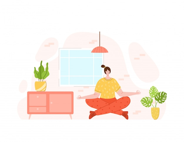 Het meisje doet sportoefeningen en yoga thuis - online training of training
