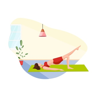 Het meisje doet thuis yoga sportoefeningen vectorillustratie