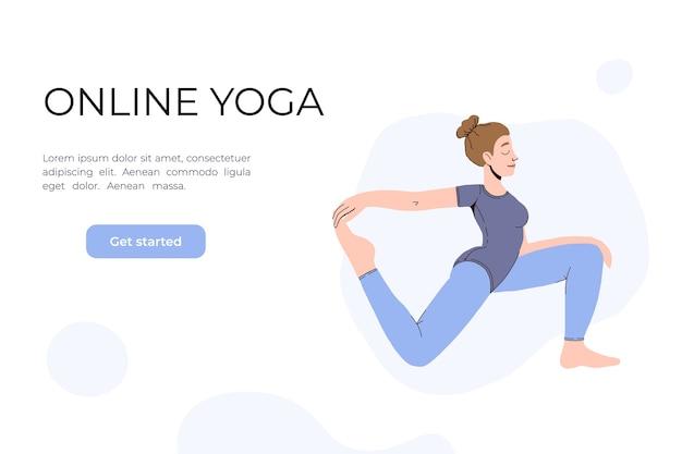 Het meisje doet yoga in de video. yogalessen online.