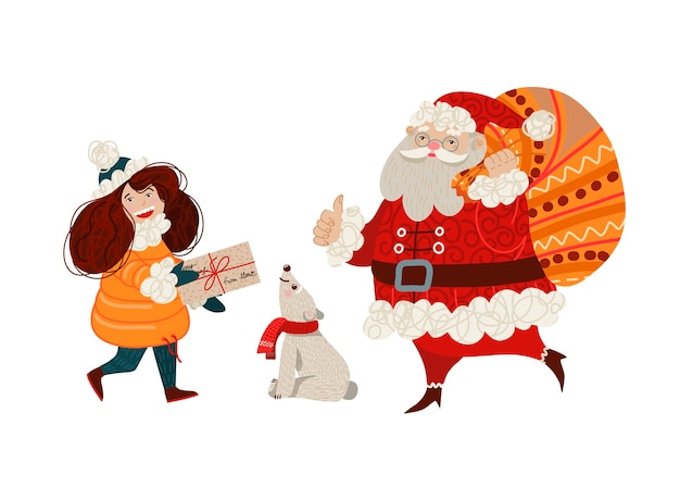 Het meisje draagt een brief aan de kerstman.