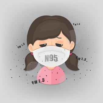 Het meisje draagt n95 masker om openluchtluchtvervuiling te beschermen. pm 2,5 in stofmeter.