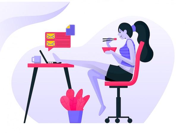 Het meisje eet op het kantoor gebruikend eetstokjes