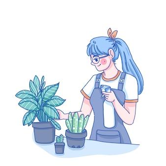 Het meisje geeft planten water