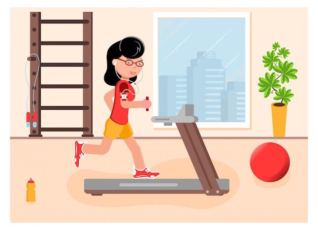 Het meisje houdt zich bezig met hardlopen