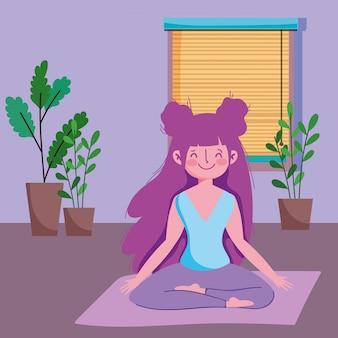 Het meisje in yogalotusbloem stelt op mat in de ruimte, oefent thuis uit