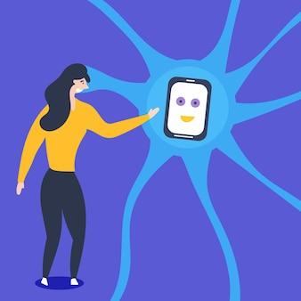 Het meisje interageert met kunstmatige neuronen