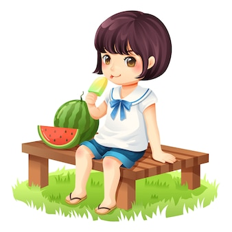 Het meisje is het eten van ijs zittend op een houten stoel