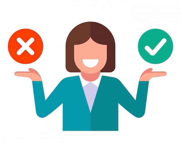 Het meisje kiest voor ja of nee. denk na over uw beslissing. vlakke karakter illustratie op een witte achtergrond.