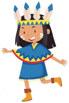 Het meisje kleedde zich als inheemse indiaan