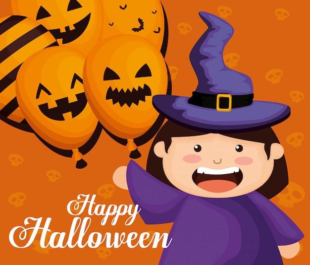 Het meisje kleedde zich omhoog als heks op halloween