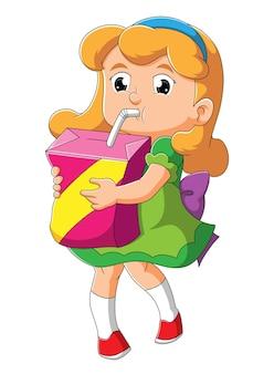 Het meisje knuffelt en drinkt een grote sapdoos met illustratie