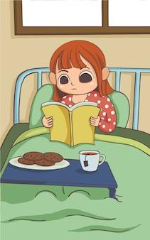 Het meisje leest op haar bed