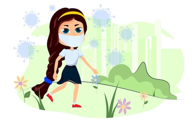 Het meisje loopt in de natuur en een epidemie van coronavirus. karaktermeisjes en virus covid-19.