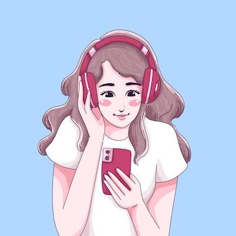 Het meisje luistert hoofdtelefoon