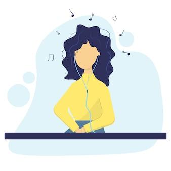 Het meisje luistert naar muziek met een koptelefoon muziek klinkt de vrouw is een muziekliefhebber