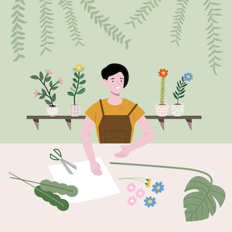 Het meisje maakt prachtige huisproducten met verschillende soorten bomen, papier en elementen
