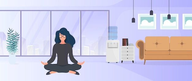 Het meisje mediteert op kantoor. het meisje beoefent yoga. kamer, kantoor, vloerlamp, kamergroei, tafel met laptop, werkplek. illustratie