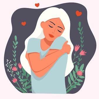 Het meisje met bloemen omhelst zichzelf. hou van jezelf.