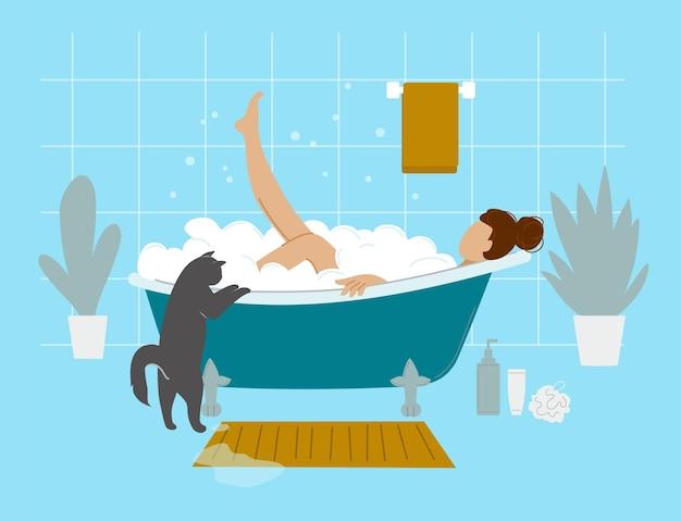 Het meisje neemt een bad. platte vector badkamer interieur.
