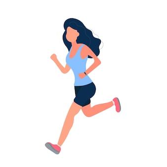 Het meisje rent. het meisje in korte broek en een t-shirt is aan het joggen. geïsoleerd. vector.