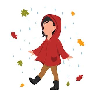 Het meisje rent in de regen. leuke activiteiten in de herfst. kind dat regenlaarzen draagt die in een vulklei springen.