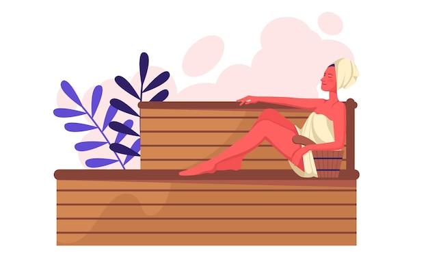 Het meisje rust in de sauna op de plank en neemt een stoombad in een handdoek. ontspanning en spa-behandelingen. platte vectorillustratie eps10.