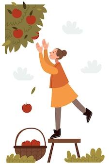 Het meisje scheurt appels in de herfsttuin een goede oogst appels in een mand herfststemming
