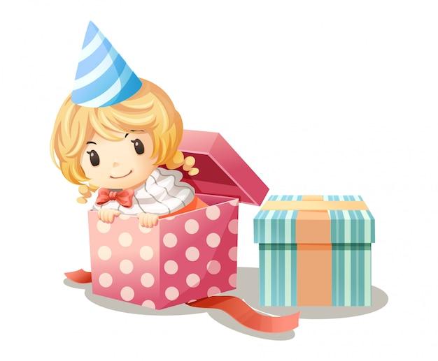 Het meisje speelt zich verstop in de geschenkdoos