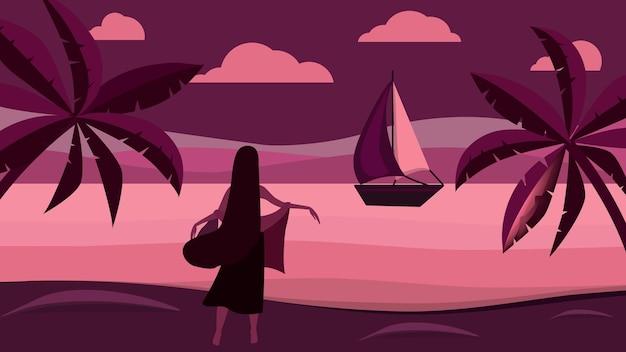 Het meisje staat op het strand en kijkt naar de zeilboot. avond zeegezicht. vector illustratie.