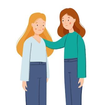 Het meisje steunt haar vriendin het meisje huilt vrouwen steunen elkaar vriendelijk steunconcept