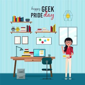 Het meisje van de de trotsdag van geek met boeken