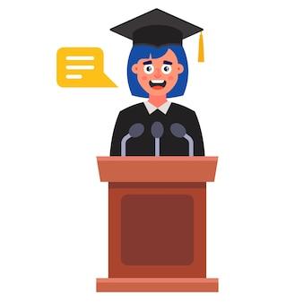 Het meisje zegt bij haar afstuderen een afscheidsrede. plat geïsoleerd op een witte achtergrond.