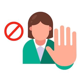 Het meisje zegt nee. stop agressie. vlakke karakter illustratie.