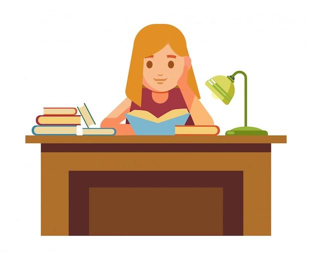 Het meisje zit aan tafel met boeken en leest